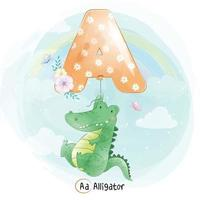 simpatico coccodrillo con alfabeto un palloncino illustrazione vettore