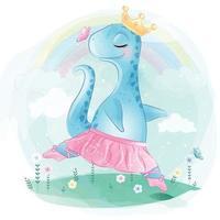 simpatico dinosauro come illustrazione della ballerina vettore