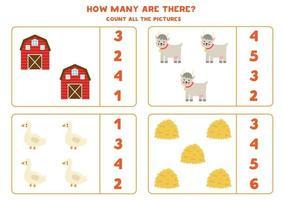 gioco di conteggio con fattoria e animali. foglio di lavoro di matematica. vettore
