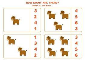 gioco di conteggio con toro cartone animato. foglio di lavoro di matematica. vettore