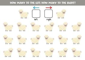 a sinistra oa destra con simpatiche pecore. foglio di lavoro logico per bambini in età prescolare. vettore