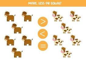 più, meno, uguale alle mucche e ai tori dei cartoni animati. vettore