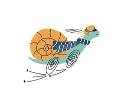 illustrazione di cartone animato vettoriale di lumaca in esecuzione divertente. elemento di velocità di progettazione di bambini disegnati a mano carino isolato su bianco. doodle stile scandinavo.