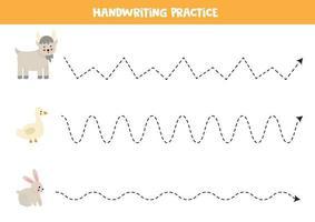 traccia le linee con gli animali della fattoria. Pratica di scrittura. vettore