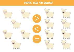 più, meno, uguale a pecore e arieti dei cartoni animati. vettore