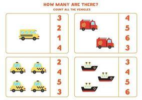 gioco di matematica. contare tutti i veicoli. giochi a tema trasporti. vettore