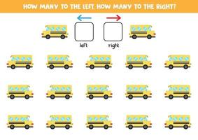 sinistra o destra con scuolabus. foglio di lavoro logico per bambini in età prescolare. vettore
