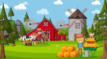 scena della fattoria con molti bambini e animali da fattoria vettore