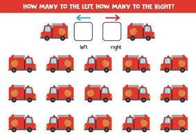 sinistra o destra con camion dei pompieri. foglio di lavoro logico per bambini in età prescolare. vettore
