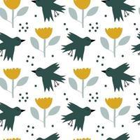 vettore bambini seamless sfondo primavera pattern con uccelli scandinavi e fiori per baby shower, design tessile estivo trama semplice per carta da parati nordica, riempimenti, sfondo della pagina web.