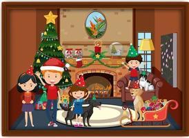 una foto di famiglia felice in tema natalizio vettore