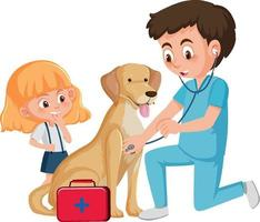 medico veterinario e cane su sfondo bianco vettore