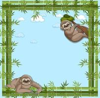banner vuoto con cornice di bambù e personaggio dei cartoni animati di bradipo vettore