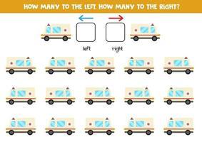 sinistra o destra con auto ambulanza. foglio di lavoro logico per bambini in età prescolare. vettore