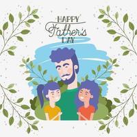 carta di felice festa del papà con personaggi di papà e figlie vettore