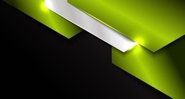 banner modello web astratto strato di sovrapposizione geometrica in metallo metallico verde e argento su sfondo nero vettore