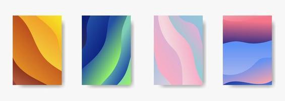 set di sfondo a strati di forma d'onda modello a4 copertina brochure vettore