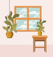 pianta d'appartamento in gruccia in macramè vicino alla finestra vettore