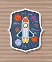 razzo su etichetta con illustrazione vettoriale di design pianeti