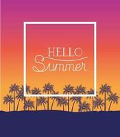 ciao estate e design del telaio per le vacanze vettore