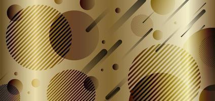 oro astratto e cerchi dinamici geometrici neri sfondo dorato forma sfumata. vettore