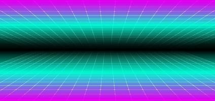 prospettiva di griglia di concetto futuristico di tecnologia di stile retrò astratto anni '90 su sfondo nero vettore