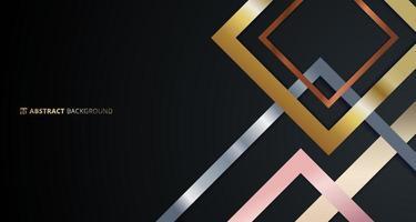motivo geometrico astratto bordo quadrato dorato, argento, oro rosa metallico sovrapposto su sfondo nero. vettore