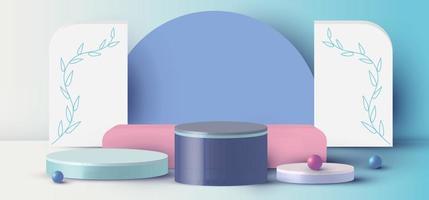 Rendering 3D con cilindro podio, sfera, scena minima astratta rettangolo con piattaforma geometrica su sfondo blu vettore