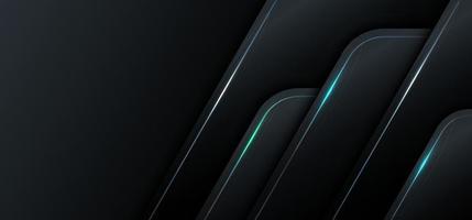 banner web template 3d geometrico nero metallico con concetto di tecnologia a luce blu. vettore