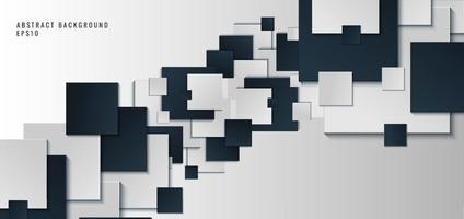 modello banner web design sfondo forma quadrata blu e bianco con ombra vettore