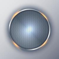 astratto elegante cerchio metallico rotondo cornice d'argento su sfondo bianco. vettore