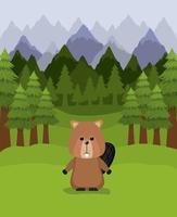 castoro animale e alberi di pino design vettore