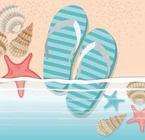 infradito estive nel design della spiaggia vettore