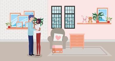 coppia interrazziale aspetta un bambino a casa vettore