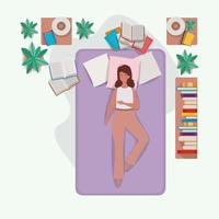 giovane donna rilassante nel materasso in camera da letto vettore
