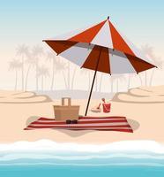 design ombrello estivo e per le vacanze vettore