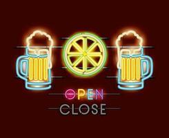 barattoli di birra e luci al neon al limone vettore