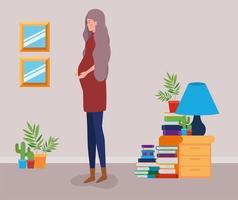 donna incinta a casa vettore