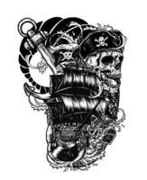teschio pirata con disegno a mano tatuaggio vettore nave.