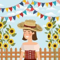 contadina che celebra con ghirlande e recinzione vettore