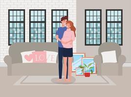 coppia in attesa di un bambino a casa vettore