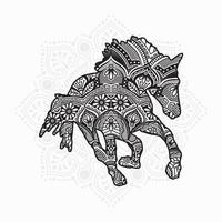 mandala di cavallo. elementi decorativi vintage. modello orientale, illustrazione vettoriale. vettore