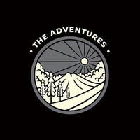le avventure con il design dell'illustrazione di abbigliamento da montagna vettore