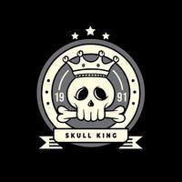 disegno dell'illustrazione dei distintivi del re del cranio vettore