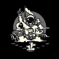 disegno dell'illustrazione dell'astronauta vettore