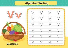 alfabeto lettera v-esercizio vegetale con illustrazione di vocabolario del fumetto, vettore