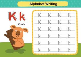 alfabeto lettera k-koala esercizio con illustrazione di vocabolario del fumetto, vettore
