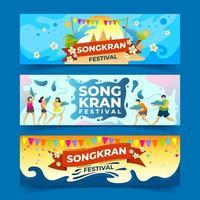 felice banner del festival di songkran vettore