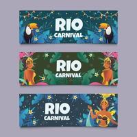 celebrare il set di banner di carnevale di rio vettore