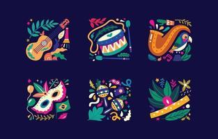 brasiliano rio de janeiro samba parade carnevale icone vettoriali elementi di design